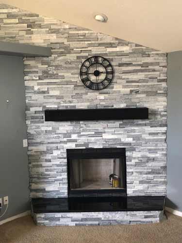Custom Elegant Kitchen Tile Backsplash Dark Grey Angled Tile