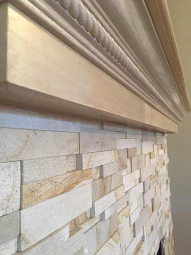 Custom Kitchen Tile Backsplash Horizontal rectangle shards assorted black white gray, green
