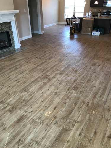 Custom Tile Flooring Living Room Long Slate Tile with wood appearance